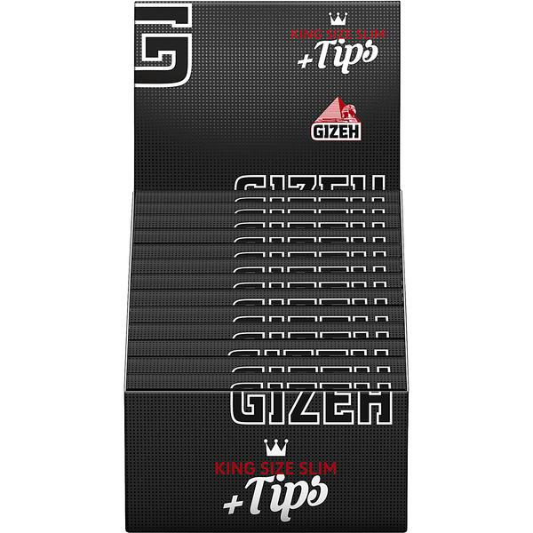 GIZEH Black King Size Slim +Tip + NR
